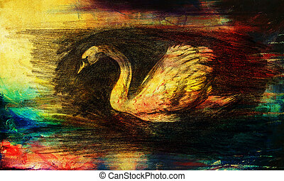 pencil drawing swan on old paper background and Color...
