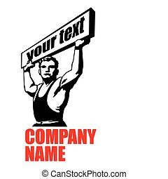 strong man with placard - stencil vector image of a strong...