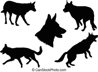German Shepherd Silhouette Collecti - Black silhouettes of...