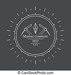 Hipster vintage banner With crystal and pick, mining Outline...