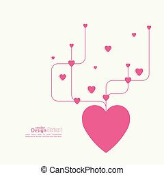 Heart with intersecting curved lines. Pink. The concept of...
