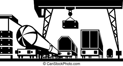 Railway cargo station - vector illustration