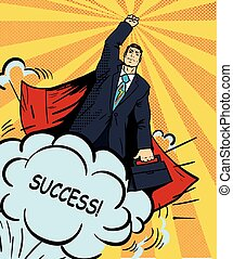 Businessman super hero flying with briefcase. Vector illustration in retro pop art style. Business success comic concept