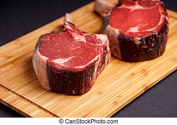 raw Tomahawk Steak - Raw Dry aged tender delicious Tomahawk...
