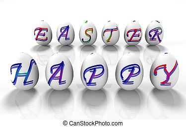 inscription, Paques,  render, oeufs,  -,  3, heureux, Paques,  d