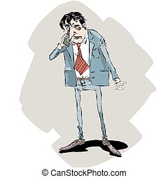 businessman talking on the phone - a businessman talking on...