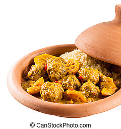 Traditional Tajine Dish of Meatballs and Couscous - Close Up...