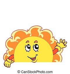 Happy waving Sun - vector illustration.