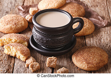 Tasty Snickerdoodle cookies and milk close-up on the table....