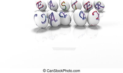 Easter eggs rolling around text Happy Easter, 3d render -...