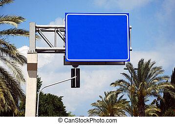 Blue blank Street Sign - A Blank blue Sign on a pole