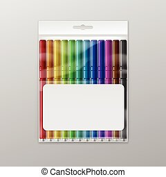 Vector Box of Colored Felt-tip Pens Markers Isolated - Box...