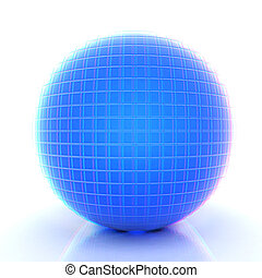Abstract 3d sphere with blue mosaic design 3D illustration...