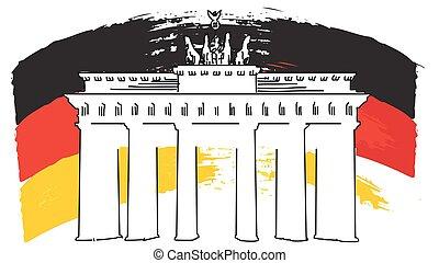 German Flag Sketch and Brandenburger Gate, Vector Artwork,...