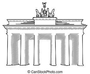 Brandenburger Gate Berlin, Vector Sketch and Outline Artwork