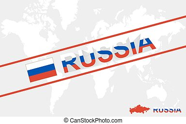 Russia map flag and text illustration
