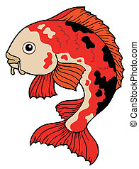 Koi fish on white background - vector illustration.