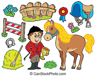 Horse collection on white background - vector illustration