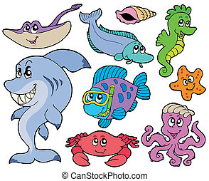 Ocean animals collection - vector illustration.