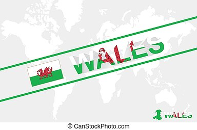 Wales map flag and text illustration