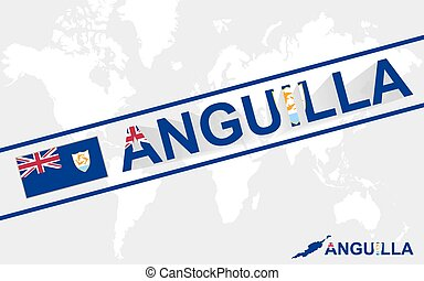 Anguilla map flag and text illustration