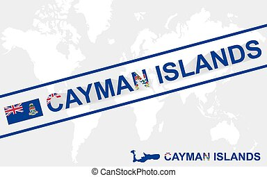 Cayman Islands map flag and text illustration