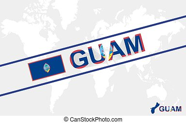 Guam map flag and text illustration