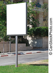 White blank Street Sign - A Blank white Sign on a pole