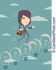 Business woman climbing up ideas