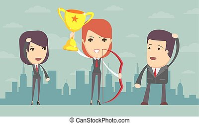 Business woman holding up winning trophy and bow - Vector...