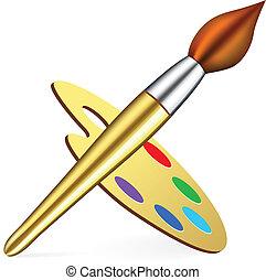 Vector artist\\\'s palette and brush