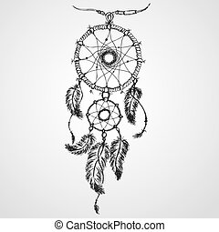 Dreamcatcher, feathers and beads. Native american indian...