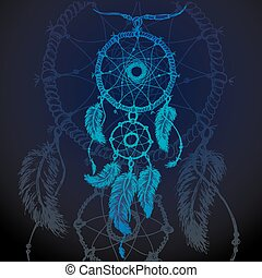 colorful illustration of dream catcher - Vector illustration...