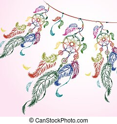 colorful illustration of dream catcher. - Vector colorful...