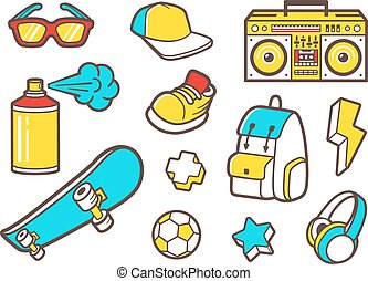 Youth culture symbols. Vector line icons - Youth culture...