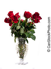 Cut Glas Vase of Red Roses on White - A cut glass crystal...