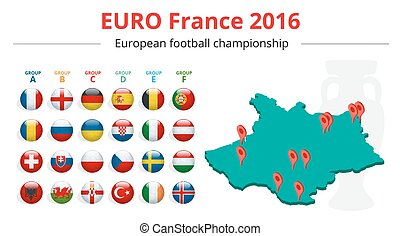 Euro 2016 in France. Flags of European countries participating to the final tournament of Euro 2016 football championship. Vector icons.