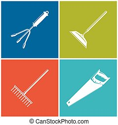 Set of Colored Farming Icons , Garden and Landscaping Tools...