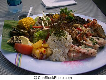 Fish platter - platter with two kinds of fish, shrimp, mango...