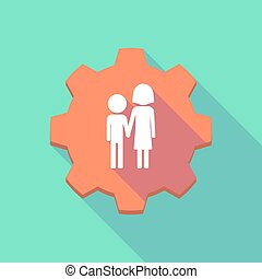 Long shadow gear icon with a childhood pictogram -...