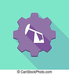 Long shadow gear icon with a horsehead pump - Illustration...