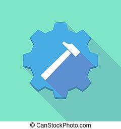 Long shadow gear icon with a hammer