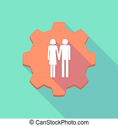 Long shadow gear icon with a heterosexual couple pictogram -...