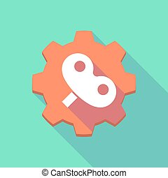 Long shadow gear icon with a toy crank - Illustration of a...