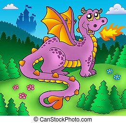 Big purple dragon with old castle - color illustration.