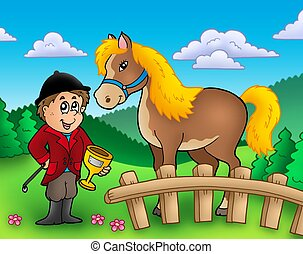 Cartoon jockey with horse - color illustration