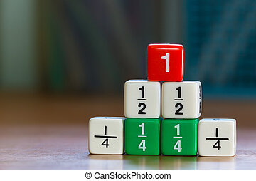 Stacked up fraction dices - Three levels stacked up color...