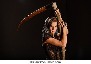 Girl in a black lace smock with scythe of death. - Girl in a...