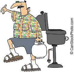 Man Refilling His BBQ Tank - This illustration depicts a man...
