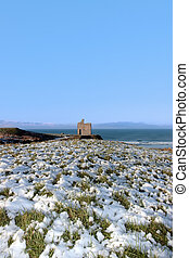 ballybunion castle ruins snow covered scene - snow covered...